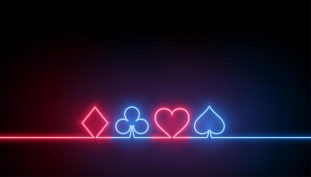 Símbolos de néon de fundo de cartas de jogar cassino