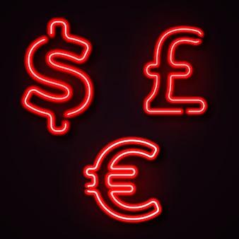 Símbolos de néon de moeda dólar libra euro