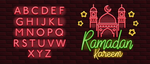 Símbolos de néon de vetor da parede de tijolo ramadan kareem