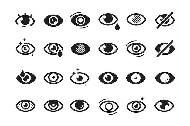 Símbolos de olhos. olho aberto, partes humanas ópticas, saúde, saúde, insônia, catarata, ícones de visão bonitos