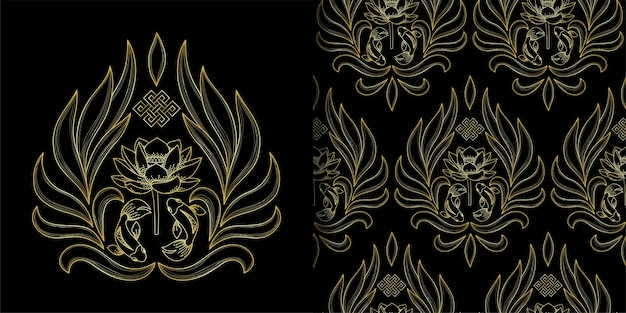 Símbolos de ouro do budismo impressos e padrão sem emenda com intermináveis peixes de lótus de nó