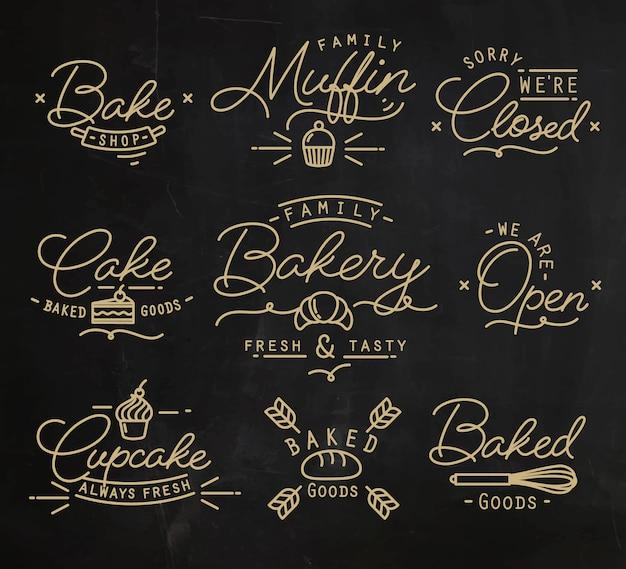 Símbolos de padaria plana