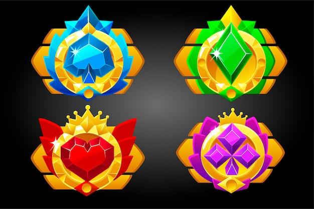 Símbolos de pôquer dos naipes de cartas para o jogo