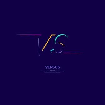 Símbolos de pôster brilhante de confronto vs. ilustração vetorial em fundo escuro com um estilo moderno e minimalista.