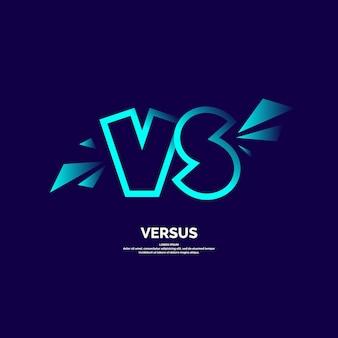 Símbolos de pôster brilhante de confronto vs ilustração vetorial em fundo escuro
