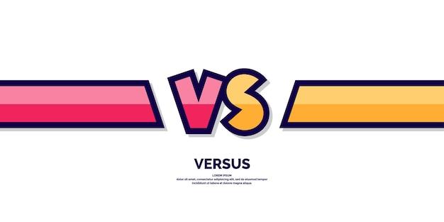 Símbolos de pôster brilhante de confronto vs ilustração vetorial no fundo branco