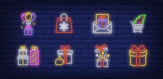Símbolos de presentes de natal em estilo neon
