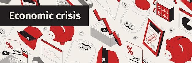 Símbolos de recessão de crise financeira econômica padrão isométrico sem emenda