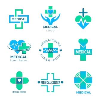 Símbolos de saúde, sinais médicos para cuidados de saúde clínica logotipo cruz mais isolado