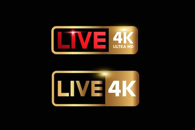 Símbolos de sinal de ícone de vídeo ao vivo ultra hd 4k