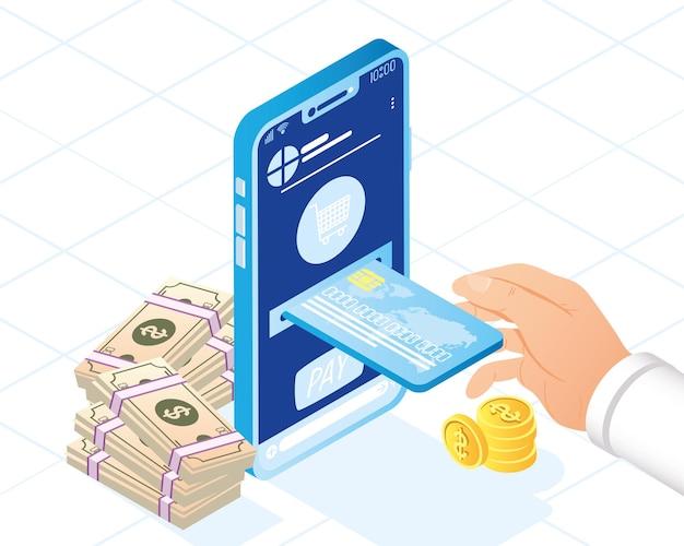 Símbolos de smartphone e pagamento online