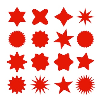 Símbolos de sunburst de estrelas retrô ícones de raios de sol vintage etiqueta vermelha de venda ou desconto de etiquetas de compras