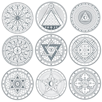 Símbolos de tatuagem de vetor gótico vintage místico