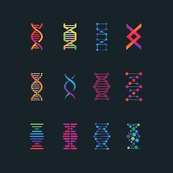 Símbolos de tecnologia de pesquisa de dna humano.