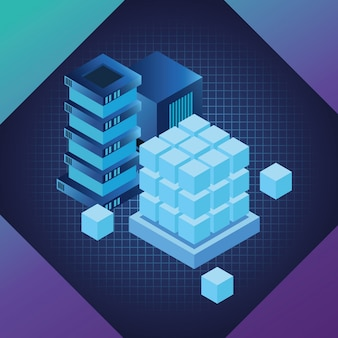 Símbolos de tecnologia digital azul