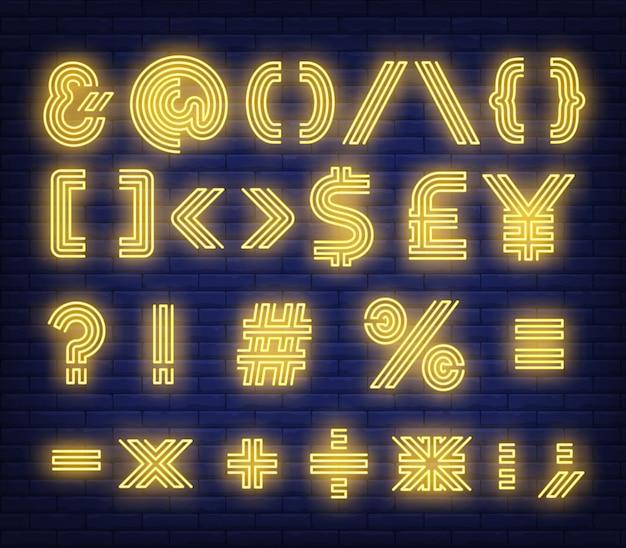 Símbolos de texto amarelo sinal de néon
