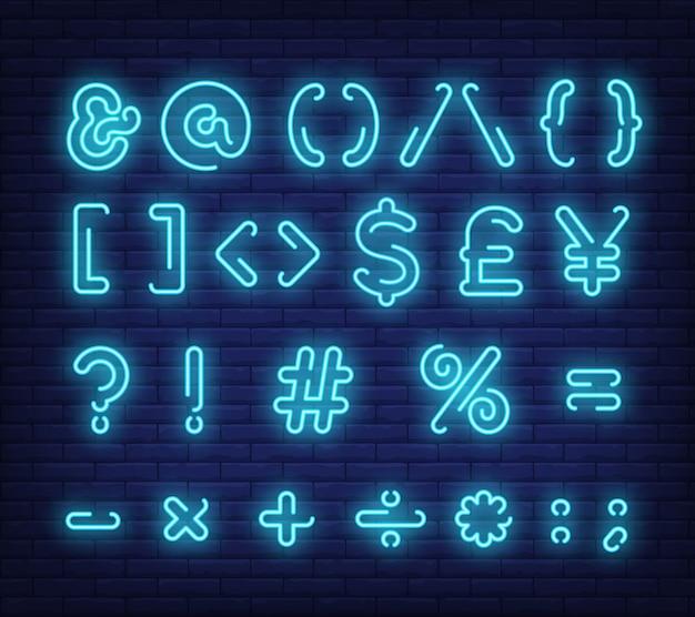 Símbolos de texto azul, sinal de néon
