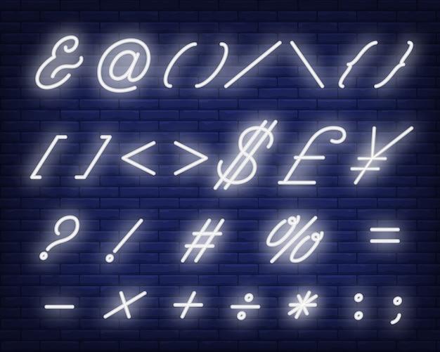 Símbolos de texto cursivo branco sinal de néon