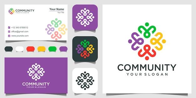 Símbolos de trabalho em equipe e design de logotipo da comunidade