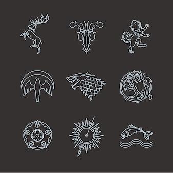 Símbolos de tronos de jogos de animais heráldicos de linha