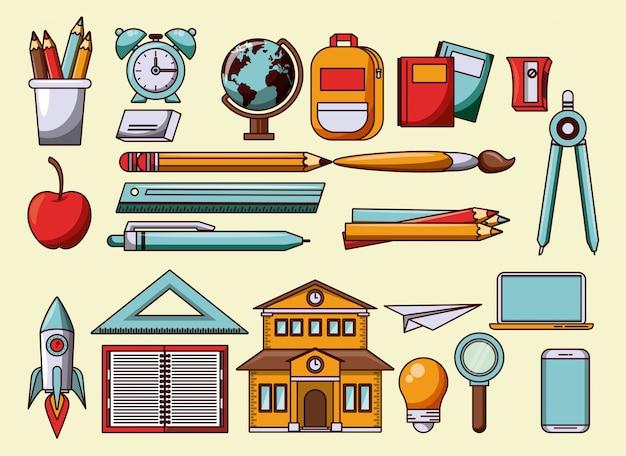 Símbolos de utensílios e cartuns de escola
