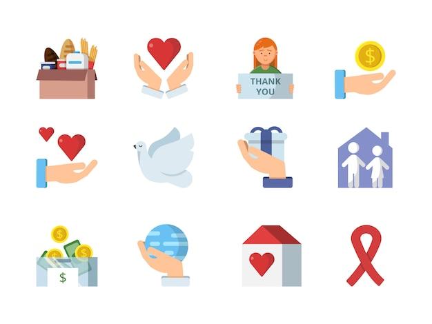 Símbolos de vetor colorido de instituições de caridade