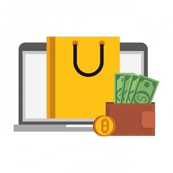 Símbolos digitais de dinheiro cryptocurrency bitcoin