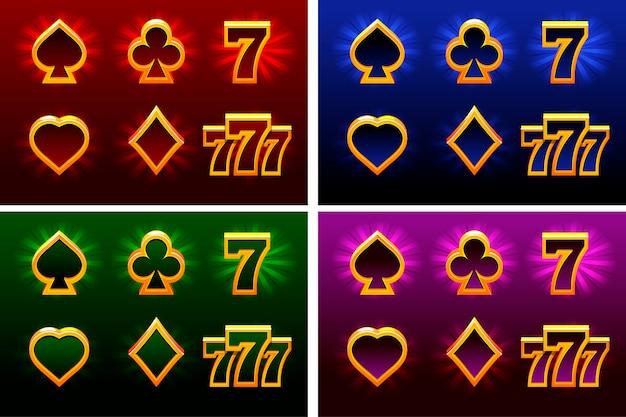Símbolos do cartão de jogo. naipe de cartas de jogar.