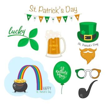 Símbolos do dia de saint patricks. feriado nacional irlandês.