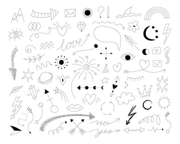 Símbolos do doodle desenhado à mão setas com linhas finas com coroa de ênfase no rabisco