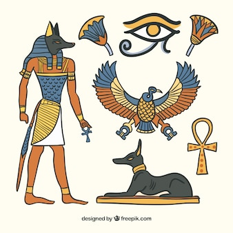 Símbolos do egito e coleção de deuses na mão desenhada estilo