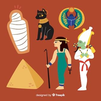 Símbolos do egito e deuses conjunto estilo desenhado na mão