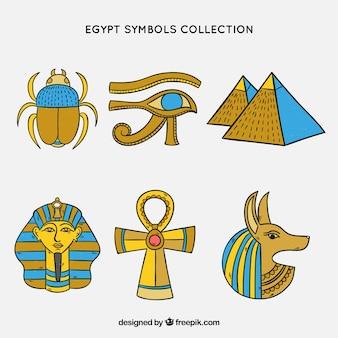 Símbolos do egito e deuses na mão desenhada estilo