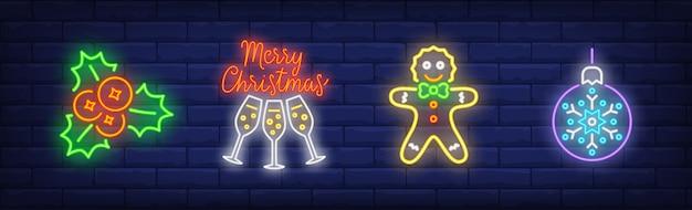 Símbolos do feliz natal em estilo neon
