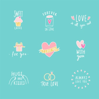 Símbolos do ícone do amor vector set