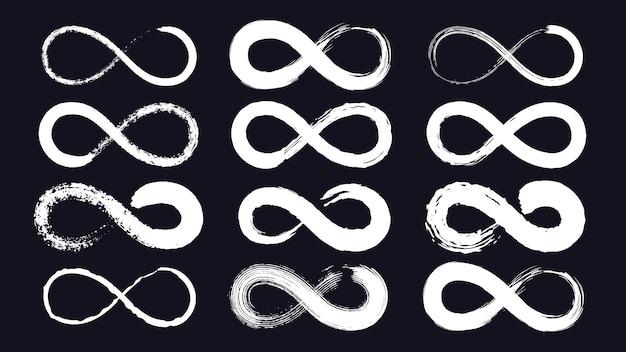 Símbolos do infinito ou loop de eternidade desenhado com pincel de tinta grunge. traço de linha sem fim. emblema infinito de caligrafia. conjunto de vetores de fita moebius. símbolo de forma de eternidade, ilustração infinita sem limites