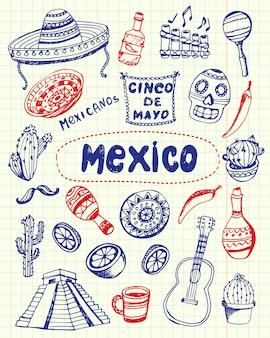 Símbolos do méxico caneta desenhada doodles coleção