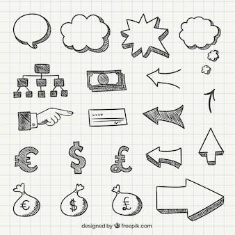 Símbolos do negócio no estilo desenhado mão