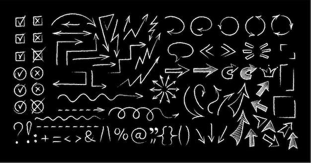 Símbolos e setas esboçados conjunto de estilo de giz