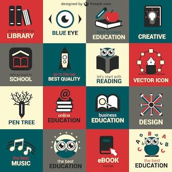 Símbolos educação planos definidos