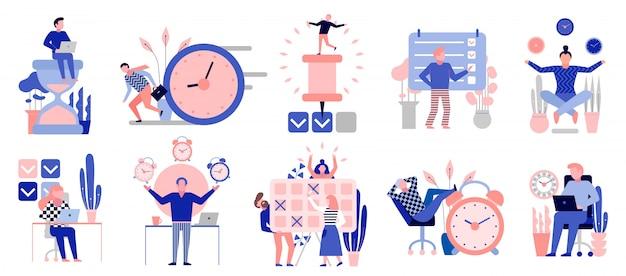 Símbolos eficazes de gerenciamento de tempo conjunto de elementos planos com tarefas de planejamento de atividades de treinamento agendam pontos de verificação isolados