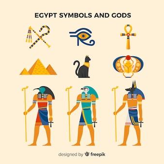 Símbolos egípcios planas e coleção de deuses