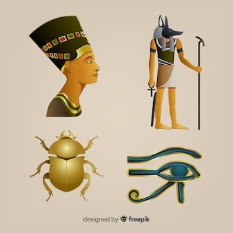 Símbolos egípcios realistas e coleção de deuses