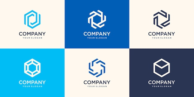 Símbolos em forma de hexágono abstrato. elemento de design de logotipo de empresa.