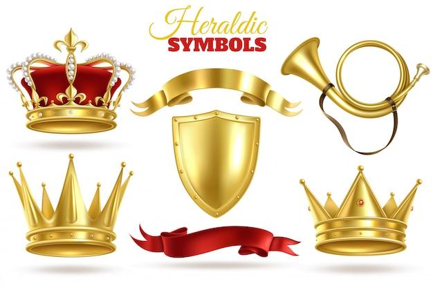 Símbolos heráldicos realistas. coroas de ouro, diadema de ouro rei e rainha. trombeta, escudo e fitas decoração vintage real