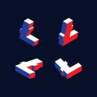 Símbolos isométricos da criptomoeda litecoin com cores vermelhas, azuis e brancas