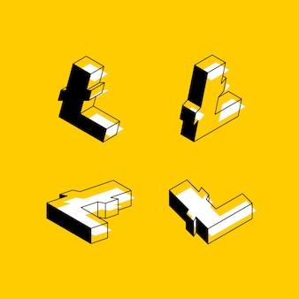 Símbolos isométricos da criptomoeda litecoin em amarelo