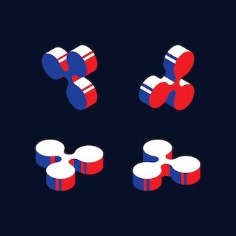 Símbolos isométricos da criptomoeda ripple com cores vermelhas, azuis e brancas