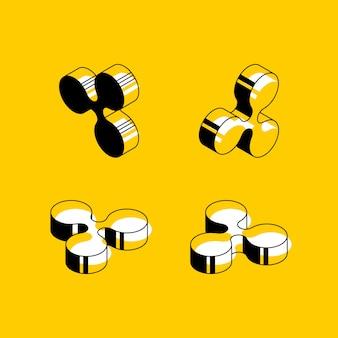 Símbolos isométricos de criptomoeda ripple em fundo amarelo