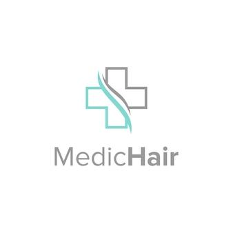 Símbolos madical e cabelo simples, elegante, criativo, geométrico, moderno, logotipo